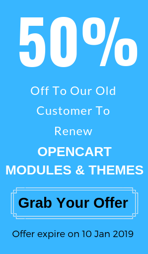 opencartExtensions gives 50% offer for old customers modules and themes