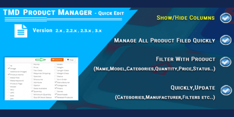 OpenCart Product Manager – Edit Bulk Products