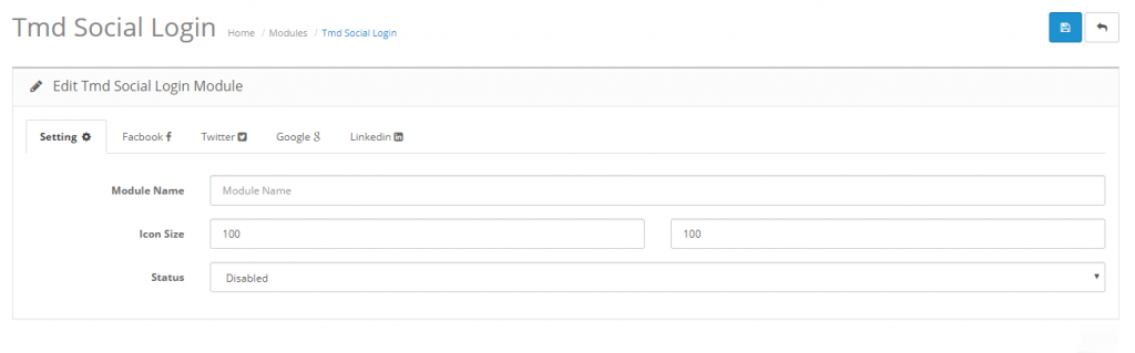 admin setting of social login opencart module