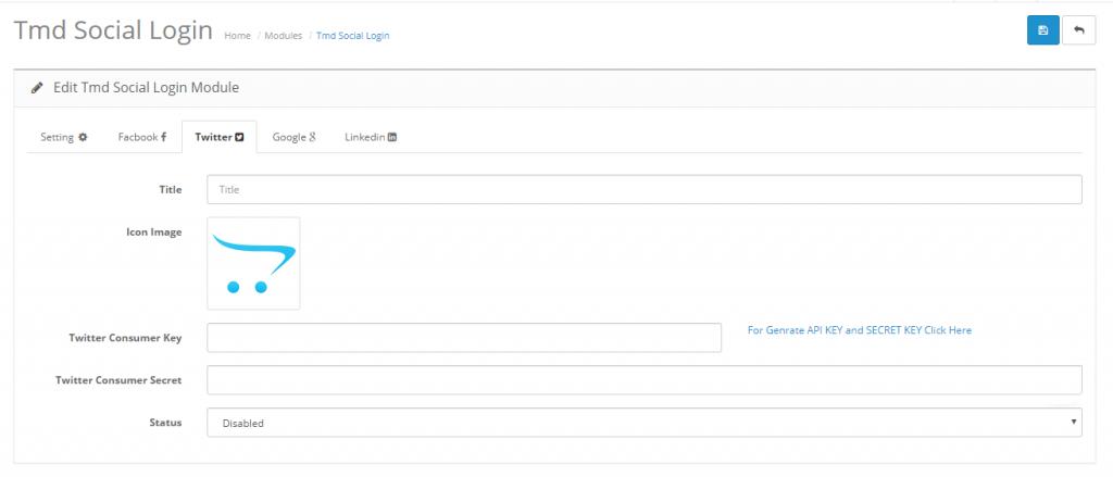 admin twitter setting for social login opencart module